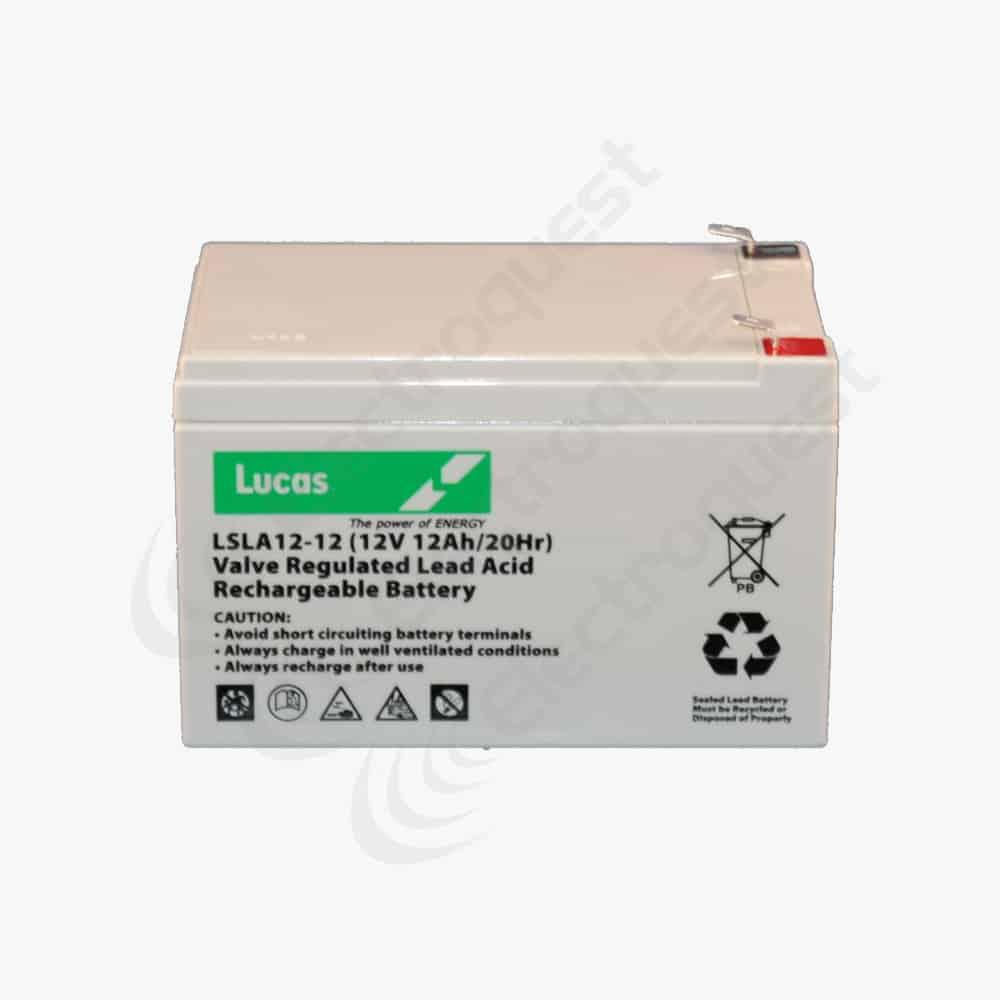 lsla12 12 lucas sealed lead acid battery 12v 12ah electroquest