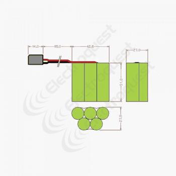 6v AA 2600mAh NIMH Hump Rx Receiver Battery Pack