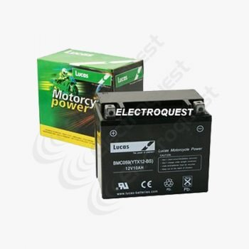 YTX12BS AGM Liquifix Lucas Motorcycle Battery 12V 10Ah